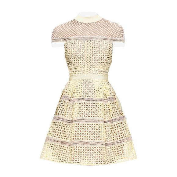 Self-Portrait Dresses & Skirts - SELF-PORTRAIT Yellow Crosshatch Lace Mini